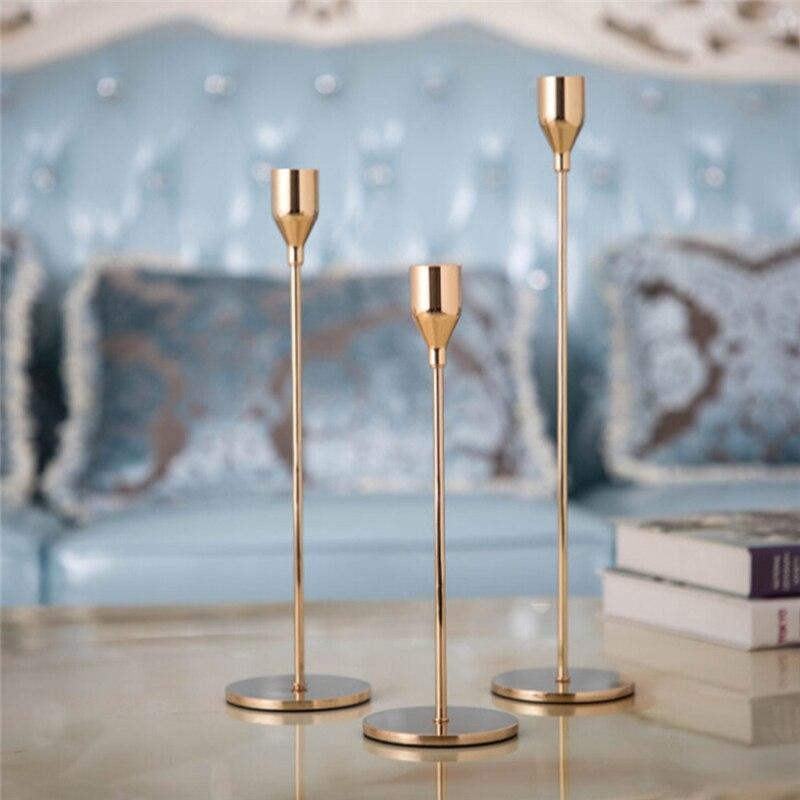 Metall Kerzenhalter Einfache Goldene Hochzeit Dekoration Bar Party Wohnzimmer Decor Weihnachten Neue Jahr Home Decor Kerzenhalter
