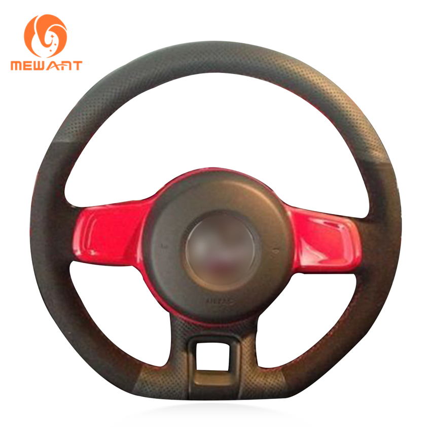 MEWANT Black Genuine Leather Black Suede Hand Sew Wrap Car Steering Wheel Cover for Volkswagen VW