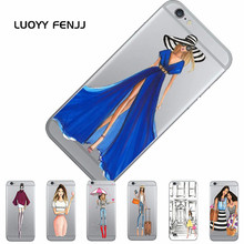LUOYY FENJJ Girl Transparent Case For iPhone 6 6s 7 Plus 5 5s SE Back Cover