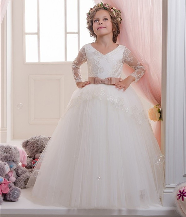 White New Girls Communion Dress Appliques Lace Up Long Flower Girls Dresses Bow Satin Ball Gowns цена 2017