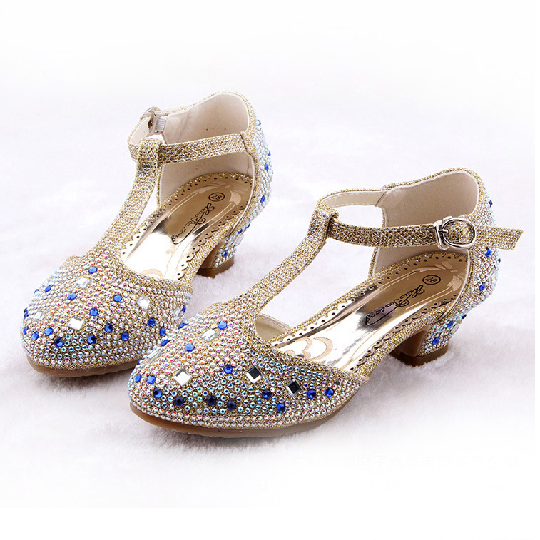 ФОТО Crystal Cartoon Image Snow Fairy Girls Shoes Princess Bow Glitter Baby Girl Shoes Leather High Heels Girls Dress Shoes for party