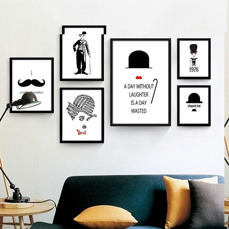 Severské abstraktní Chaplin vousy kreativní Nástěnná dekorace olejomalby plátno malba zeď obrázek děti pokoj plakáty