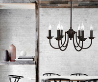 modern Luminaire Lamparas American Minimalist black candle Iron Pendant Lamp Living Room