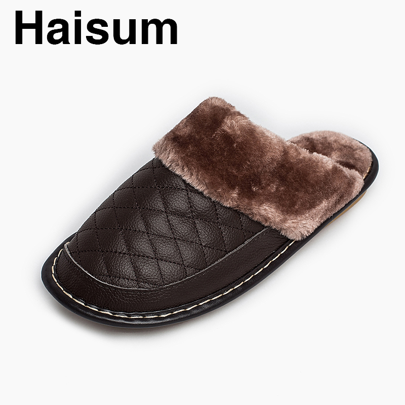 Men 's Slippers Winter genuine Leather Home Indoor Non - Slip Thermal Slippers 2018 New Hot Haisum H-8828 men s slippers winter pu leather home indoor non slip thermal slippers 2018 new hot haisum h 8007