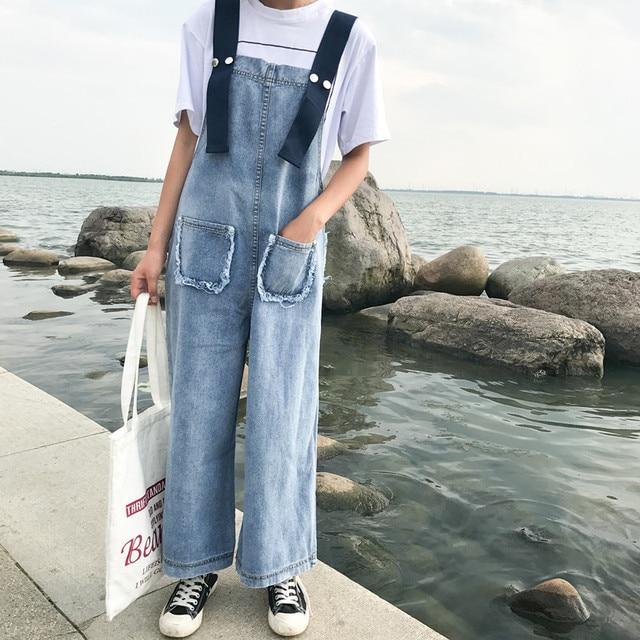 47b905b0b940 H Trendy Denim Overalls Women Retro Jean Jumpsuit 2018 Street Jumper  Suspenders Pants Korea Fashion Trousers Female Clothes
