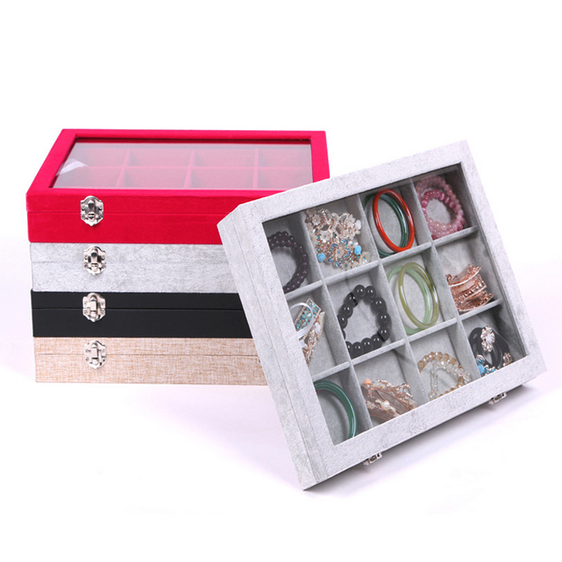 New Quality 12 Grid Jewelry Trays Jewelry Display Holder Bracelet Ring  Earring Box Case Jewelry Storage Organizer 35 24 5cm 0b9f39773b6