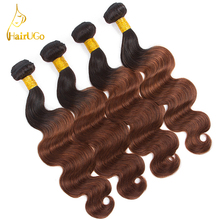 HairUGo Hair Pre-colored 100% Human Hair Brazilian Body Wave Bundles Omber #1B/33 Color 4Bundles Non Remy Hair  Extensions