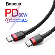 Baseus USB Type C to USB C Cable for Samsung Galaxy S9 Plus Note 9 Support PD 60W QC3.0 3A Quick Charge Cable for Type-C Devices