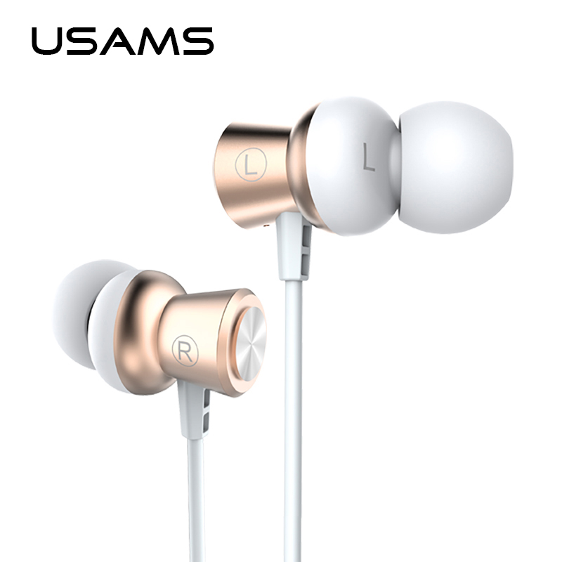 USAMS Professional In-Ear Earphone Metal Heavy Bass Sound Music Earphone xaomi High-End Brand Headset fone de ouvido cafele professional in ear earphone metal heavy bass high fidelity sound quality music earphone with microphone for mobile phone
