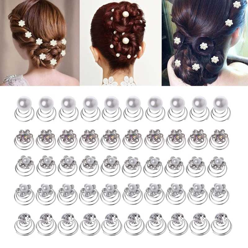 10PCS Bridal Wedding Pearl Flower Hairpins Swirl Spiral Twist Tiara Hair Jewelry