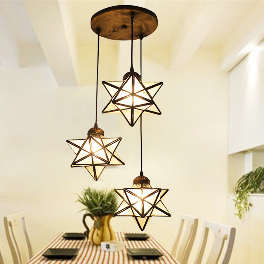 Mediterranean Tiffany Baroque star Stained Glass Suspended Luminaire E27 110-240V Pendant lights for Home Parlor Dining Room