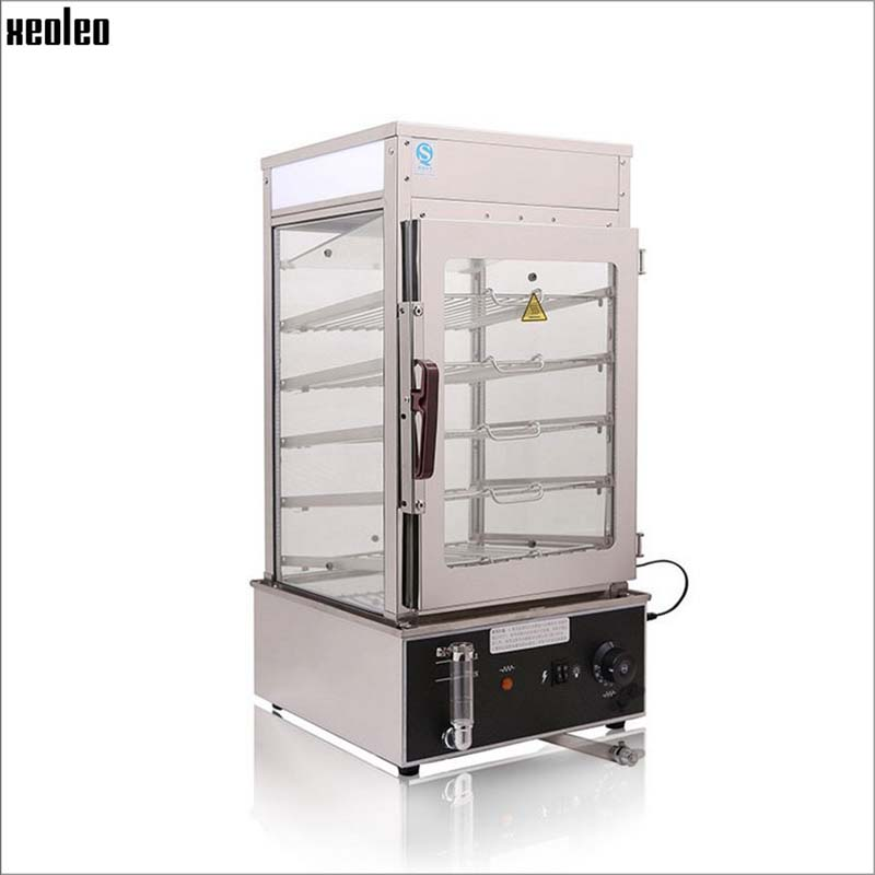XEOLEO Electric Food Steamer Commercial Bun Steam machine Stainless steel Food warmer cabinet 1200W Food steam machine 110 degre