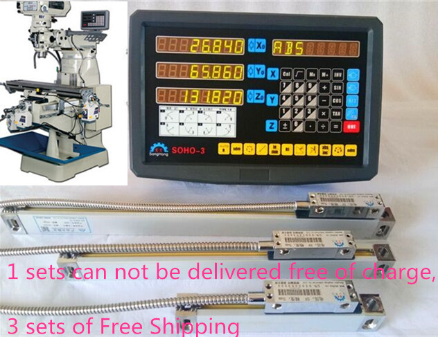Factory level measurable tools dro kit digital readout display SOHO 3 with 3 pcs linear scales/encoder/sensor 2 to 40 for mach