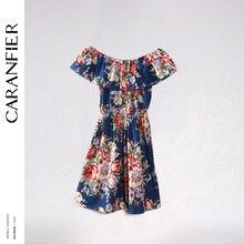 CARANFIER модные Для женщин s Print плюс Размеры фолк-Пользовательские o-образным вырезом без бретелек женская одежда плюс Размеры клуба вечерние Цветочный принт платье