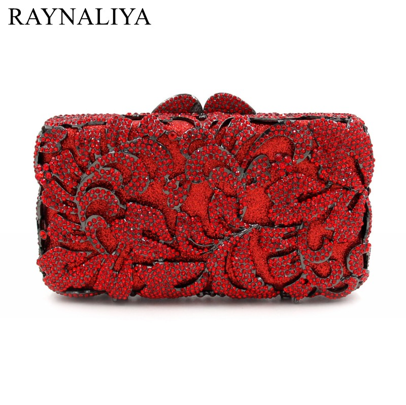 Red Rhinestones Hollow Out Women Crystal Evening Bags Flower Party Dinner Metal Clutches Bridal Clutch Wedding Purse SMYZH-E0105 gold plating floral flower hollow out dazzling crystal women bag luxury brand clutches diamonds wedding evening clutch purse