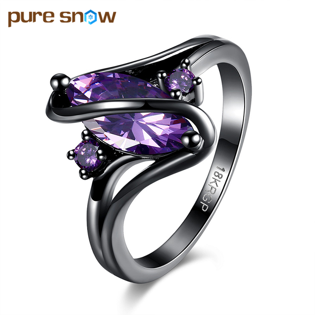 Fashion Jewelry S shaped Crystal Ring Black Gun Plated BlueGreen