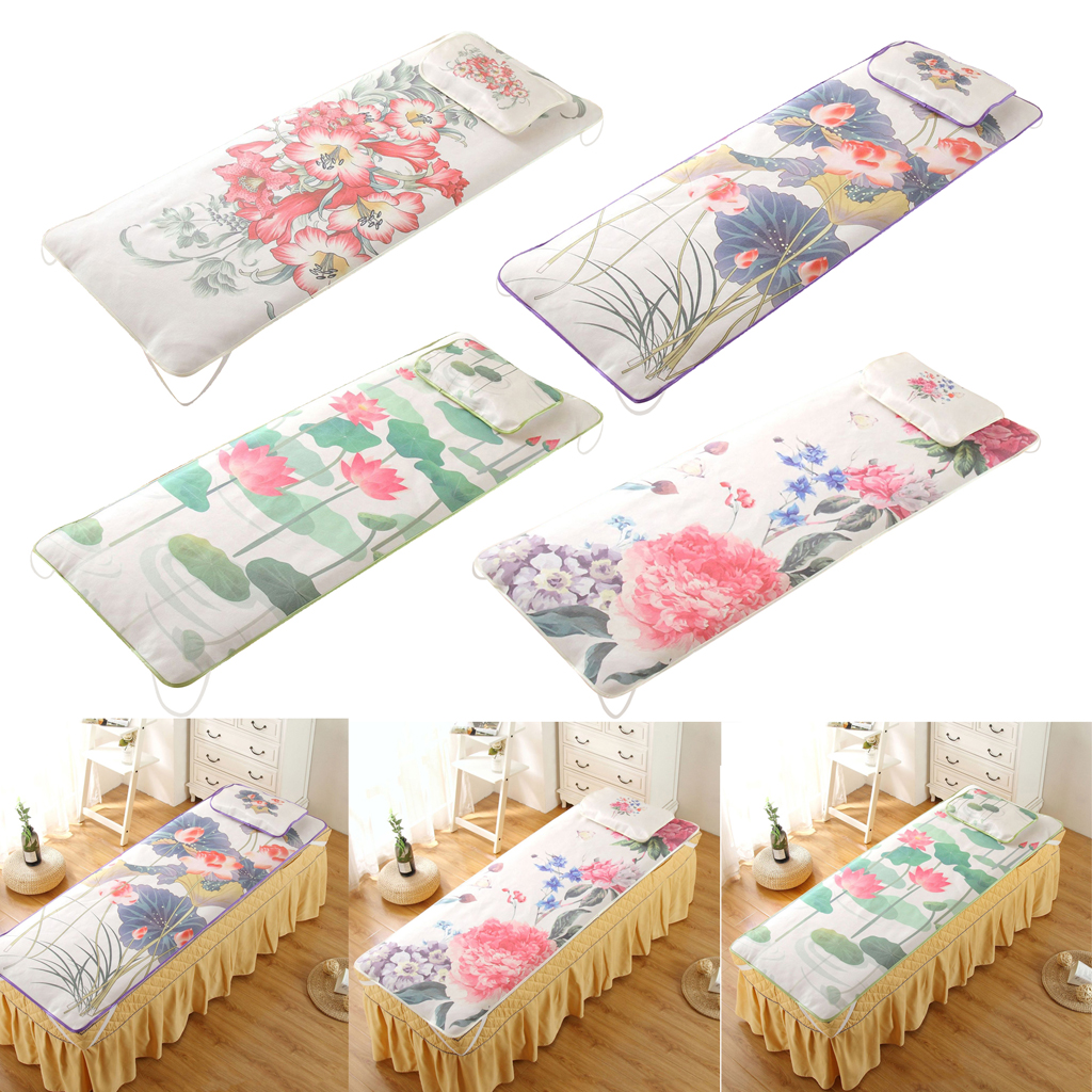 Home & Salon, SPA Massage Bed Ice Silk UnderPad, Ice Silk Mat with Pillowcase, Cooling Mattress for Newborn Toddler Bed