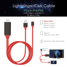 AHHROOU PLUG & PLAY Cable For Lightning to HDMI HDTV TV Adapter USB Cable 1080P For iPad Air Air2 iPhone 7 7 Plus 6S 6 5 5S
