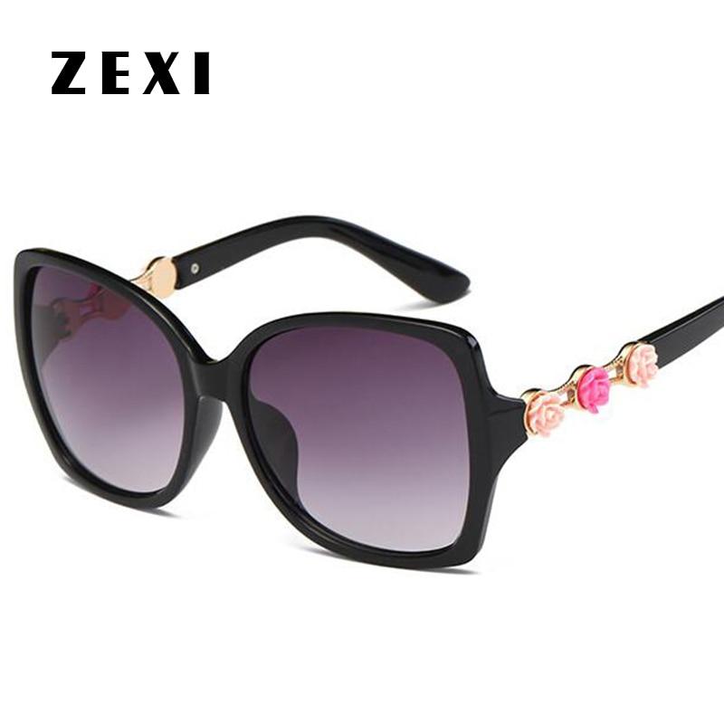 ZEXI C Sunglases Women Brand Designer Flowers Oversized ...