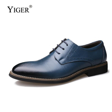 YIGER New Men dress shoes formal man business genuine leather lace-up male spring/autumn Bullock  278