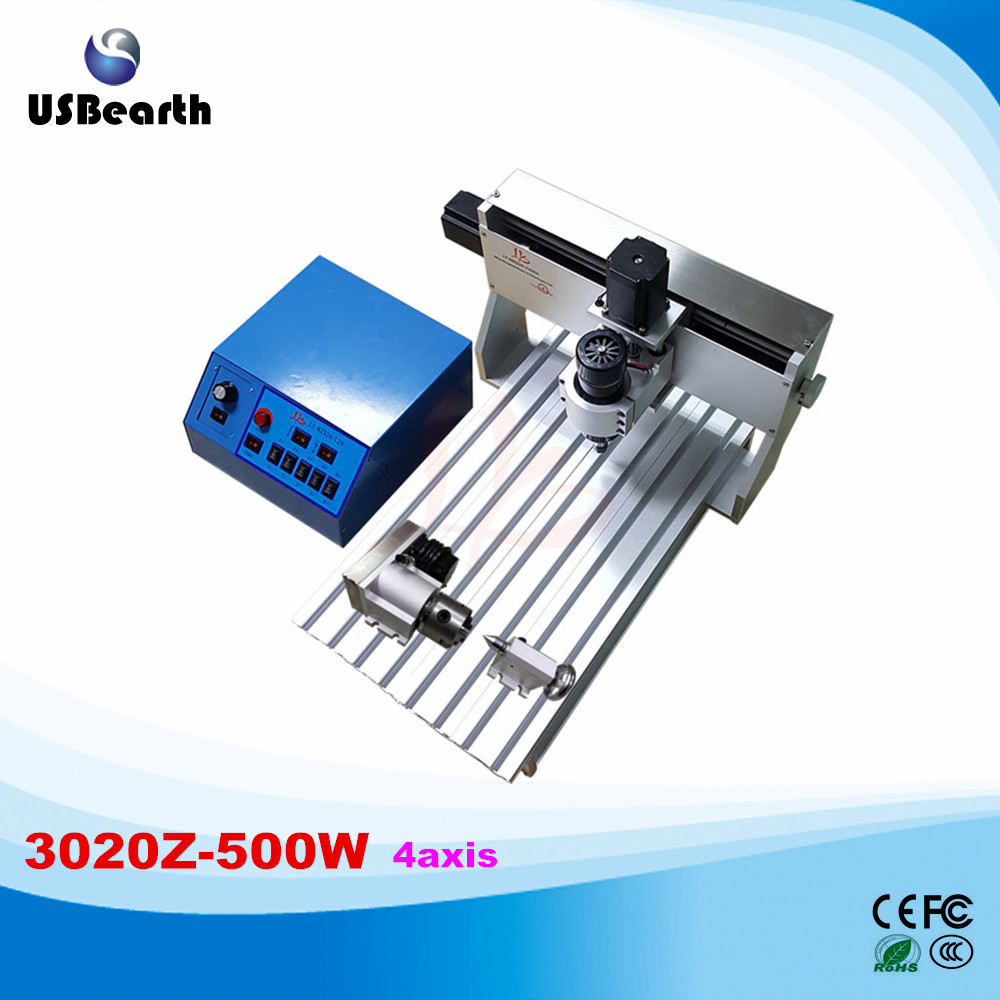 Russia tax free CNC 3020 cnc machinery , 500W 4 aixs 3d woodworking cnc router engraver free tax