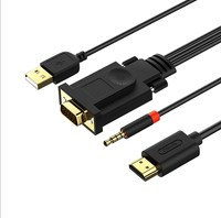 Explosion models HD VGA to hdmi computer turn TV adapter cable VGA to HDMI with audio with power supply WX1