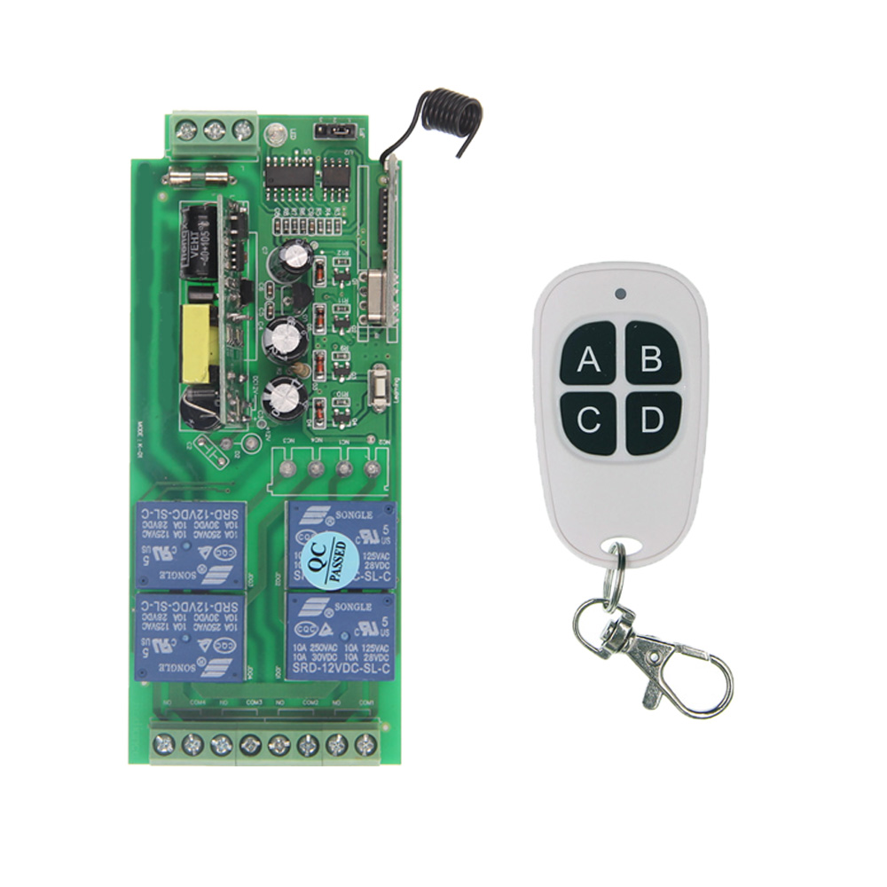 Wireless Relay 85V-265V 110V 220V 10A Relay 4CH 4 CH Wireless RF Remote Control Switch Transmitter+ Receiver high quality dc24v rf wireless remote control switch 4ch 10a 1pcs receiver