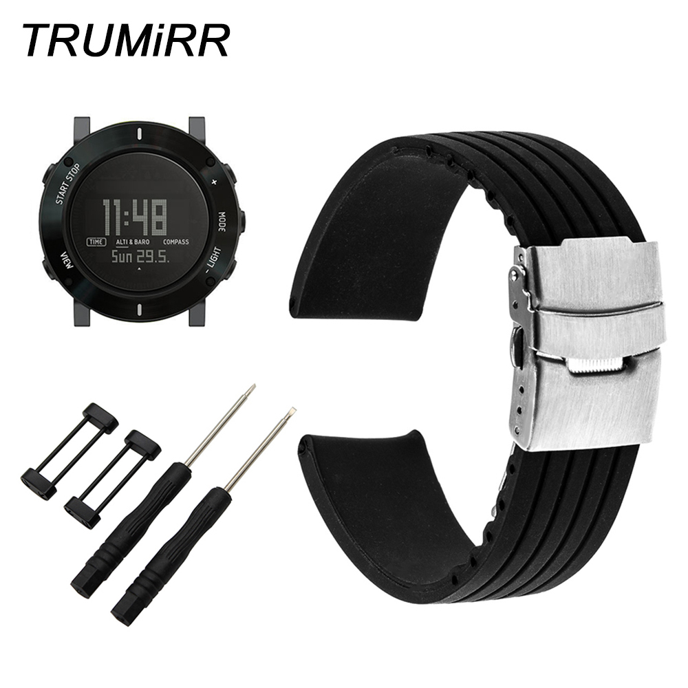24mm Silicone Watchband Safety Buckle Strap for Suunto Core Smart Watch Band Wrist Belt Rubber Bracelet Black + Adapter + Tool silicone rubber watch band 10mm x 24mm 12mm x 22mm convex mouth watchband safety clasp strap wrist loop belt bracelet black