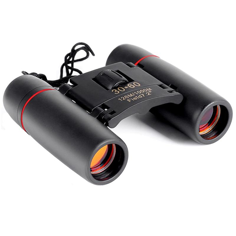 Telescopio con Zoom de 30x60 prismáticos plegables con baja luz de la noche la visión al aire libre de aves de viaje de caza de 2018