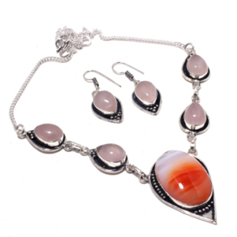 Botswana Agates,Rose Quarts  Necklace + Earings   Silver  Overlay over Copper,  51 cm , N3946