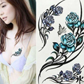 2pcs Female Floral Stickers Waterproof Temporary Tattoos Transferable Blossom Flower Stickers On The Body Metallic Tattoos Fake