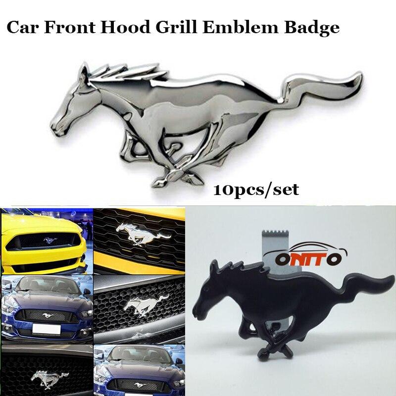 10 pcs/lot En Métal De Voiture Grill Emblème Racing Grills Pour Ford Mustang cheval logo badge Étiquette corps Autocollants De Voiture accessoires Auto Style dans Racing Grills de Automobiles et Motos