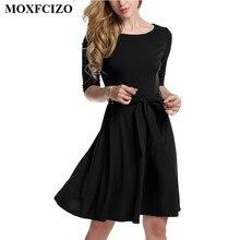 MOXFCIZO Autumn Dress Vestidos O Neck Casual Jalf Women Dresses Elegant Vintage Office Wear Elasticity Dress Women Clothing