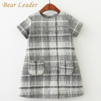 Bear Leader Girls Dress 2017 Summer Style Kids Lace Dresses Short Sleeve Appliques Lace Design For