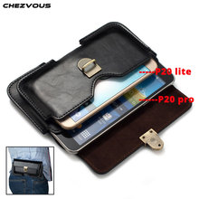CHEZVOUS 2 תפס חגורת פאוץ תיק חבילות עבור Huawei P20 מקרה שקית טלפון פרו שקיות המותניים עור PU עבור Huawei P20 לייט (נובה 3e)