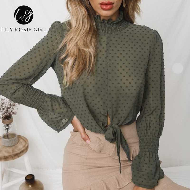 Lily Rosie Girl See Through Women Blouse Shirt Ruffle Lace Sexy Crop Top  Autumn Winter Solid 4097d913a7d