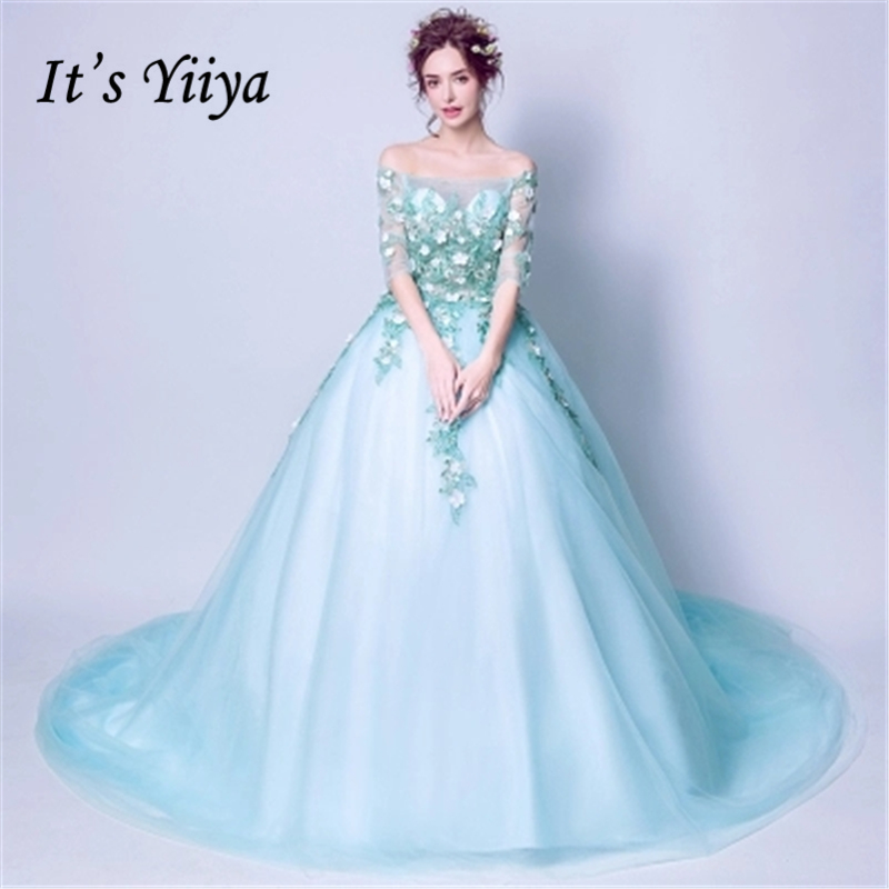It's Yiiya   Evening     Dresses   2018 Appliques Flower Lace Up Lake Blue Illusion Elegant   Evening     Dress   Party Gown LX896