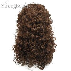 Image 3 - 強力な美容人工毛ロングカーリーブロンド茶黒かつらコスプレ女性のための