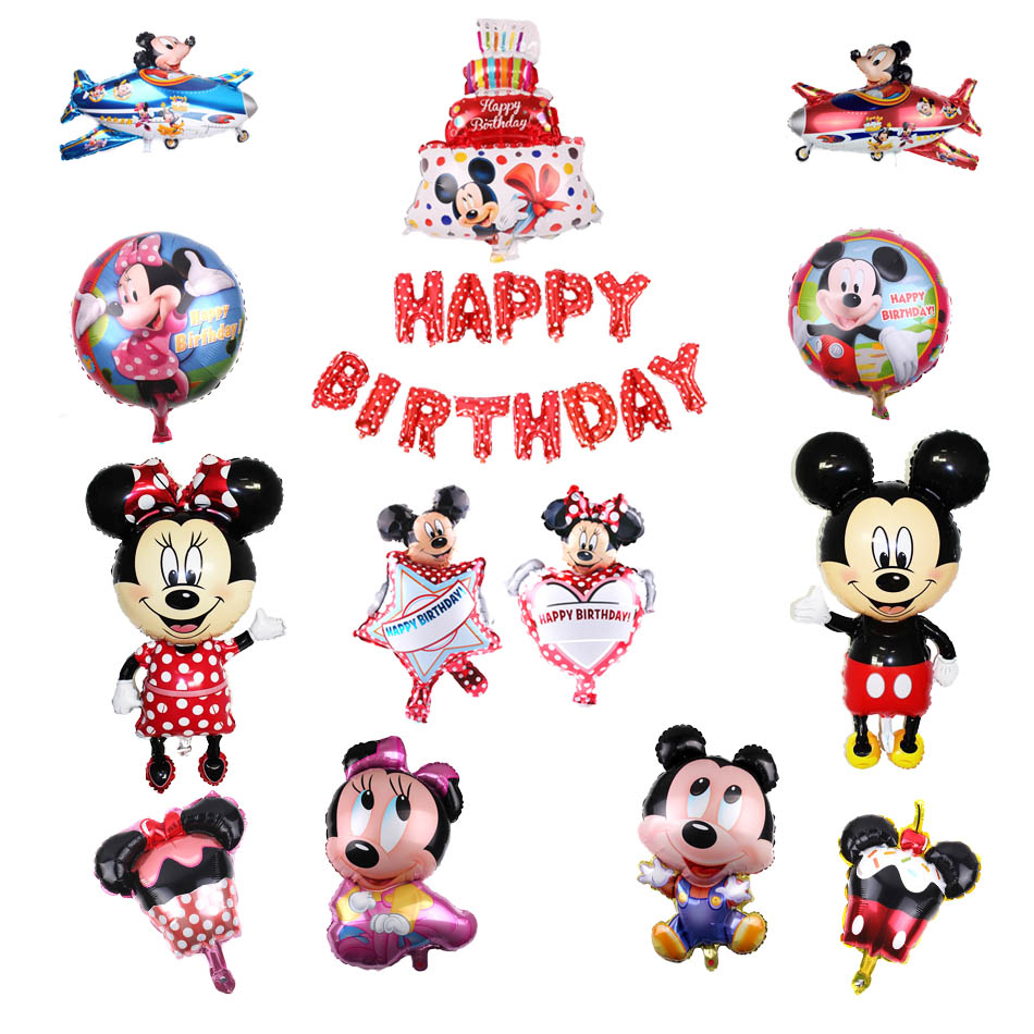 Mickey Minnie Foil Balloons Birthday Party Decoration Kids Baby Shower Girl Balloon Party Supplies Home Decoration