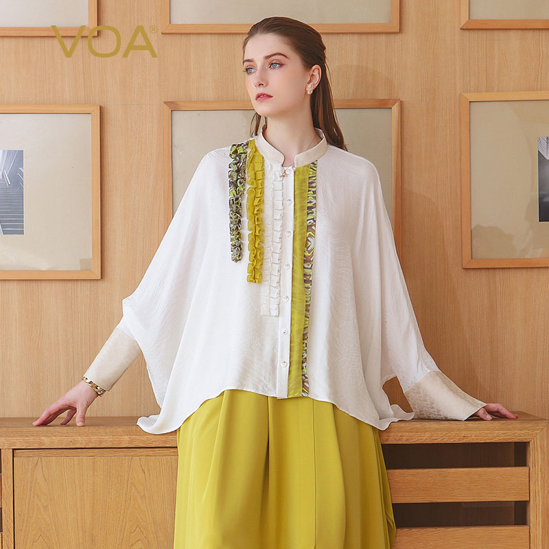 VOA 2018 Spring Summer New Office Lady White Silk Jacquard Blouse Plus Size Loose Shirt Bat Sleeve Ruffle Womens Tops BST01301