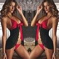 Gaze estilingue arco antes da divisão flounce roupa de dormir sexy lingerie hot ar huarache 2016 lingerie sexy hot erotic latex catsuit