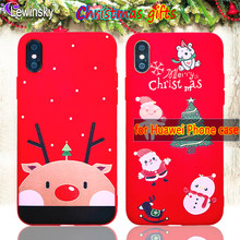Cute Christmas Phone Case for Huawei P Smart Snowman gift Tree Pattern Elk Animal Soft TPU For Huawei P20 lite Nova 3E Red Cover(China)