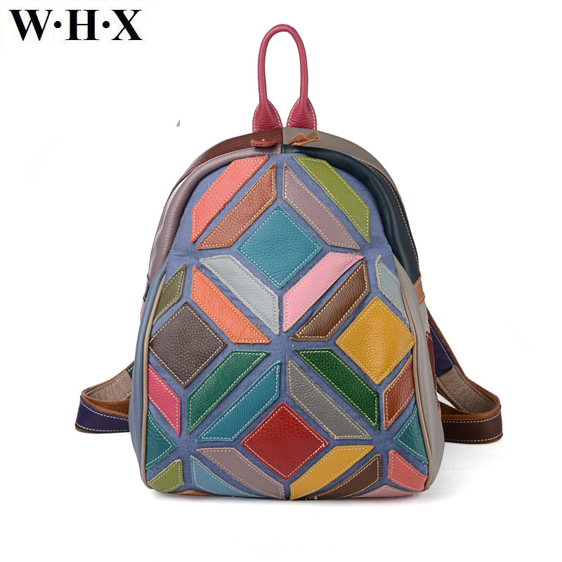 цены WHX Retro Multicolour Backpacks 2017 Fashion Genuine Leather Top-handle Bags High Quality Women Shoulder Bag Female Zipper Bag
