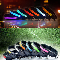 LED Solar USB Cable Collars Charging Flash Collar For Pet Dogs Nylon Glowing Dog Collar Rechargeable