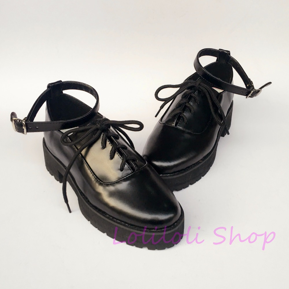 Princess sweet lolita shoes loliloli yoyo Japanese design custom big size black bright skin lace-up high boots 1284