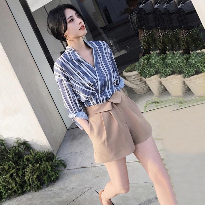 Deux Pour Lâche Printemps Pengpious Nouvelles Femmes Chemises Été Jambes Filles Larges À Rayé Pièces Mode Court Pantalon Ensemble La OXuPikZT