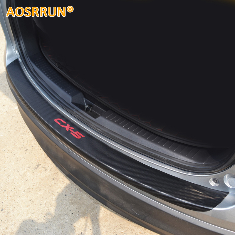 AOSRRUN PU leather Carbon fiber Stying After guard Rear Bumper Trunk Guard Plate Car Accessories For Mazda CX-5 CX5 2012-2015 for mazda cx 5 cx5 2017 2018 leather car interior rear boot cargo trunk mat pad 1set car styling accessories