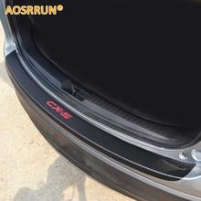 Aosrrun Искусственная кожа углеродного волокна Stying после охраны задний бампер багажник охранник пластины автомобилей Интимные аксессуары для Mazda CX-5 CX5 2012- 2015