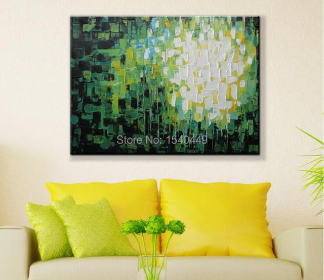 free shipping hand painted wall art green black white color lump