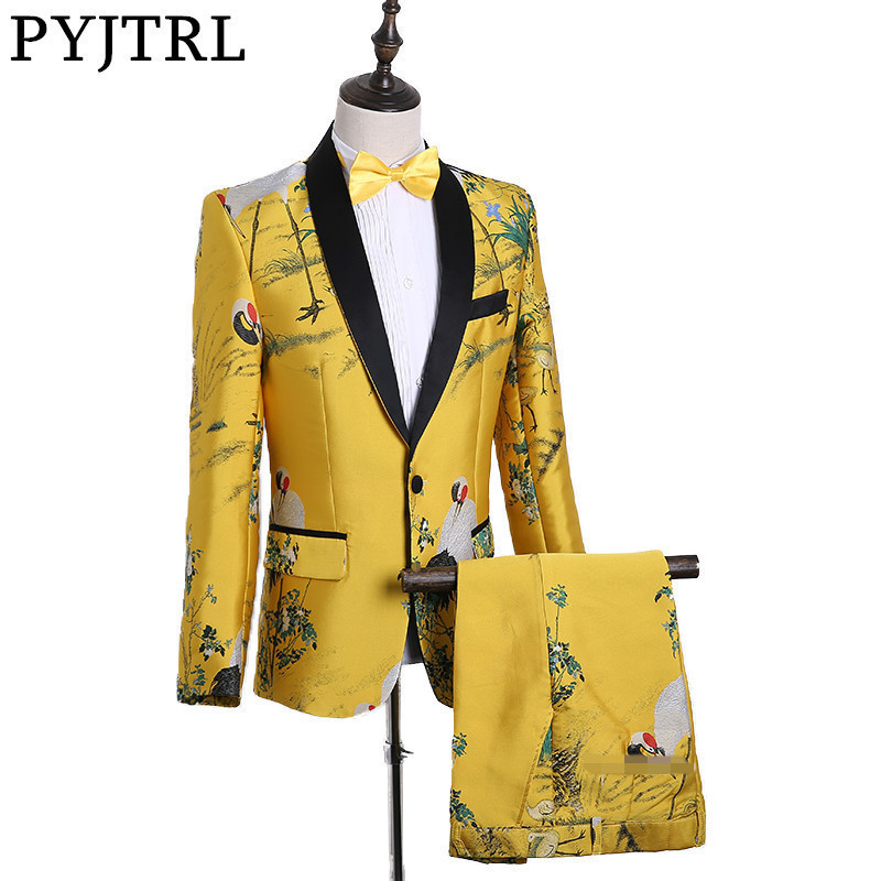 Image 1 - PYJTRL Mens Fashion Chinese Style Yellow Embroidery Dress Suit Nightclub Singer Prom Grus Japonensis Tuxedo Clothes 2018-in Suits from Men's Clothing